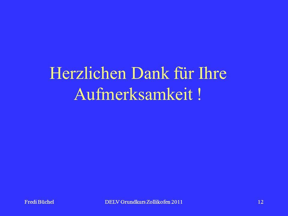 Fredi BüchelDELV Grundkurs Zollikofen 201112 Herzlichen Dank für Ihre Aufmerksamkeit !