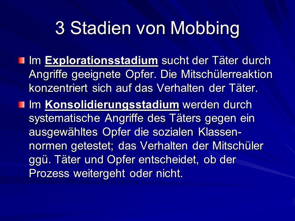3 Stadien von Mobbing Im Explorationsstadium sucht der Täter durch Angriffe geeignete Opfer. Die Mitschülerreaktion konzentriert sich auf das Verhalte