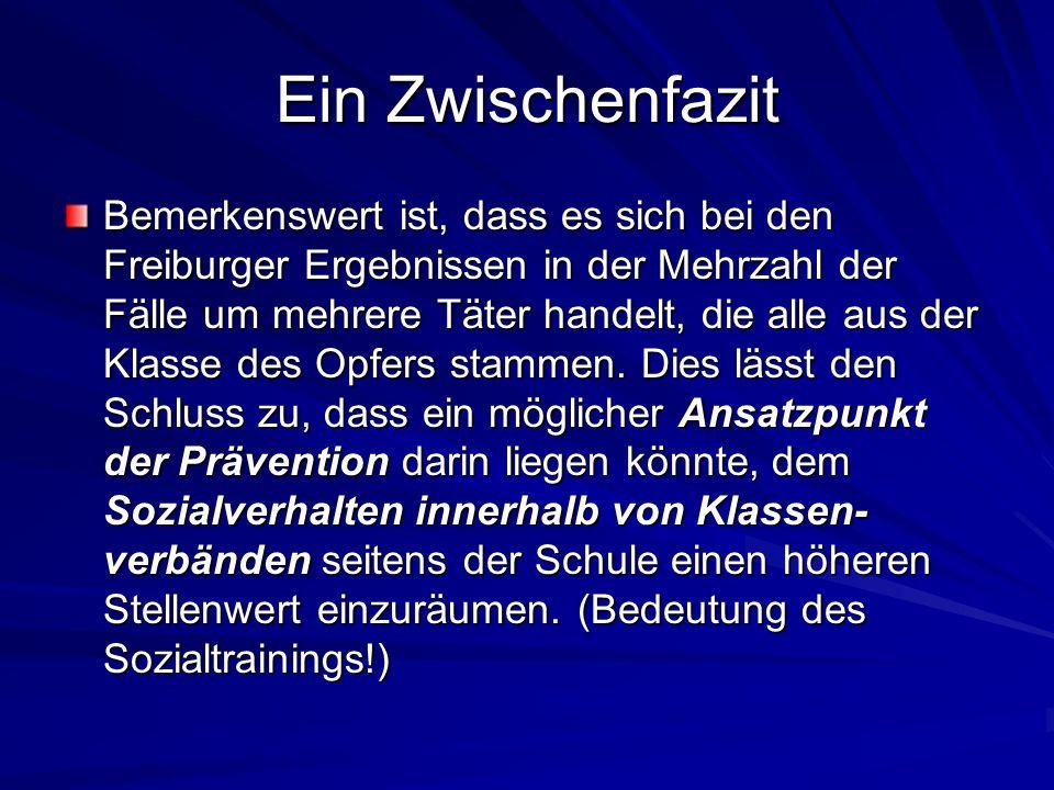 Ein Zwischenfazit Bemerkenswert ist, dass es sich bei den Freiburger Ergebnissen in der Mehrzahl der Fälle um mehrere Täter handelt, die alle aus der