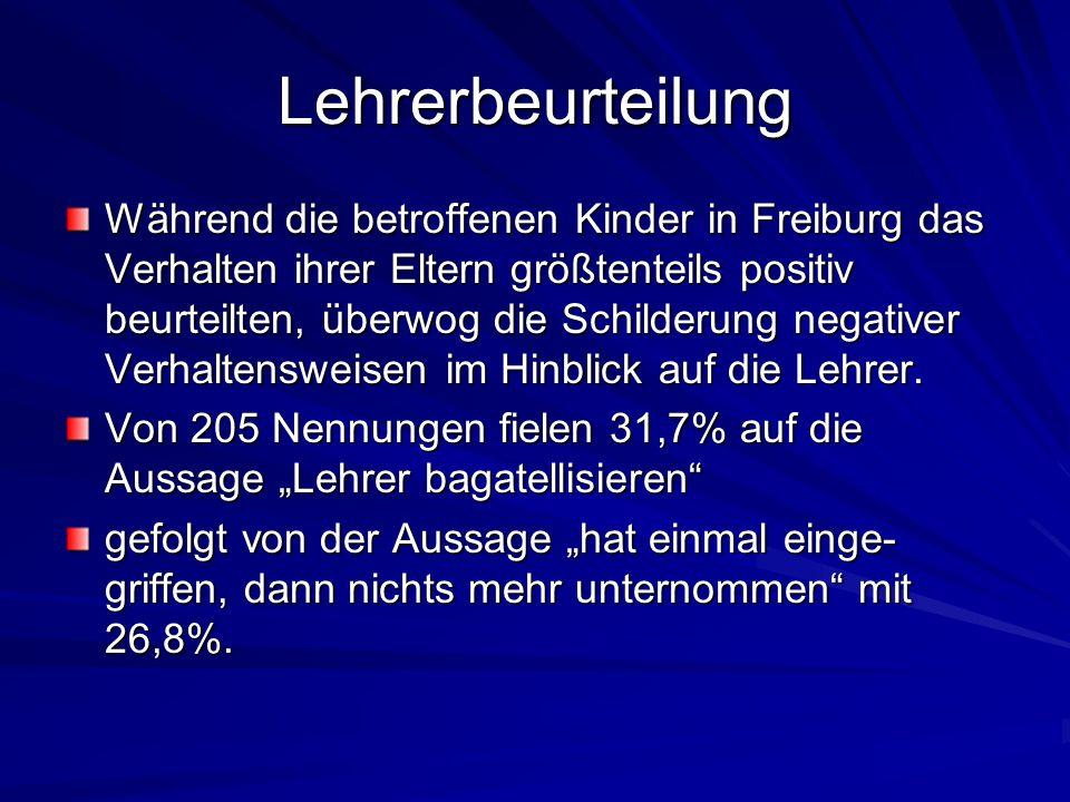 Lehrerbeurteilung Während die betroffenen Kinder in Freiburg das Verhalten ihrer Eltern größtenteils positiv beurteilten, überwog die Schilderung nega