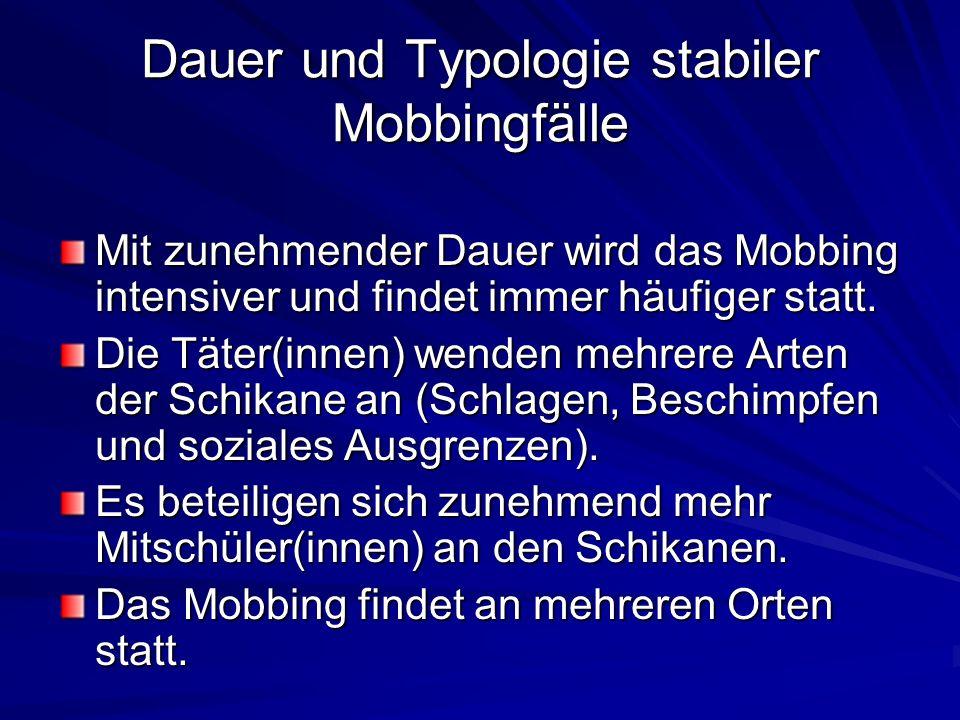 Häufigkeit und Dauer des Mobbings In 67,2 % der Freiburger Fälle, wurde das Mobbingopfer täglich und in 23,1 % der Fälle 2-3-mal pro Woche drangsaliert.