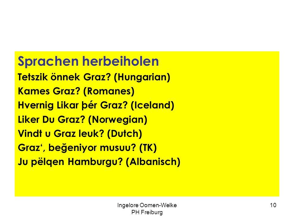 Ingelore Oomen-Welke PH Freiburg 9 Sprachdidaktische Szenarien Vorschläge aufgreifen dt. MausRatte sp. ratónrata catalan.ratolírata it. topotopo / rat