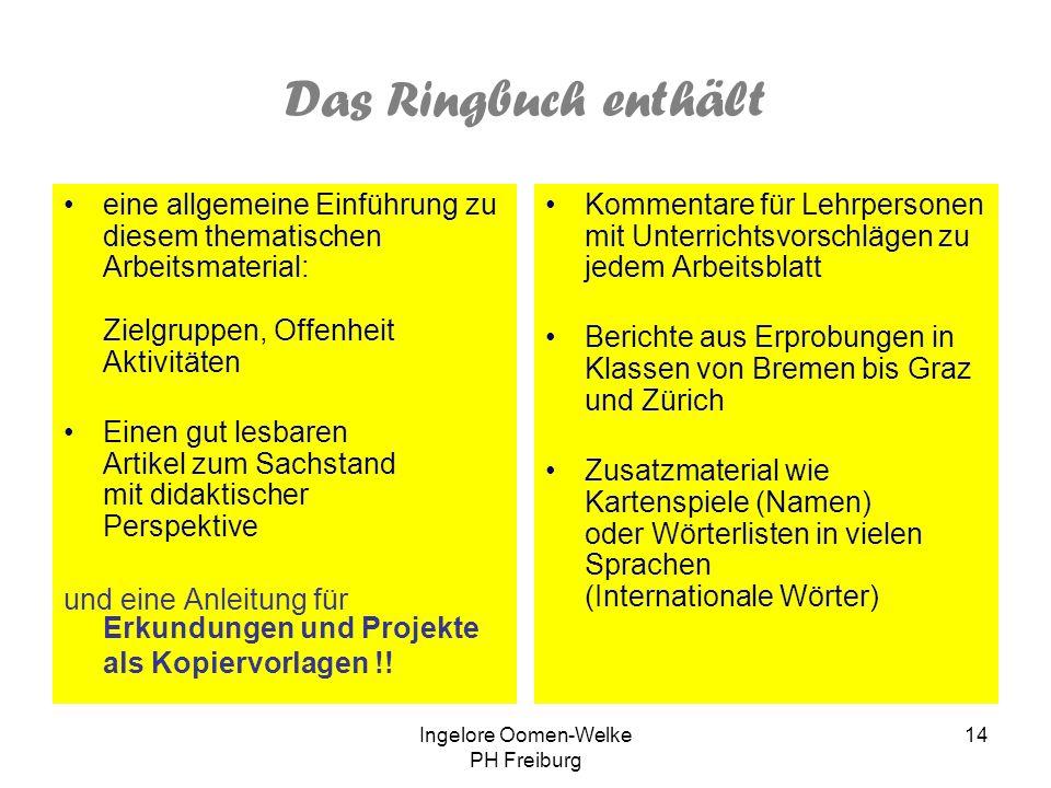 Ingelore Oomen-Welke PH Freiburg 13