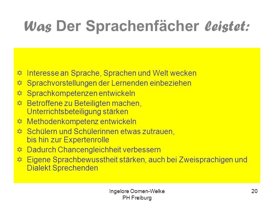Ingelore Oomen-Welke PH Freiburg 19 Laudatio 1. Preis Der Sprachenfächer – Arbeitsmittel für den vielsprachigen Deutschunterricht Klassen 4-10 Pädagog