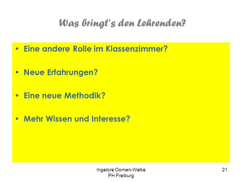 Ingelore Oomen-Welke PH Freiburg 20 Was Der Sprachenfächer leistet: Interesse an Sprache, Sprachen und Welt wecken Sprachvorstellungen der Lernenden e