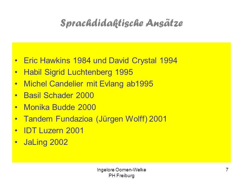 Ingelore Oomen-Welke PH Freiburg 6 Günstige Bedingungen für Zweisprachigkeit Viel Umgang mit anderen Zweisprachigen Anerkennung der Zweisprachigkeit a