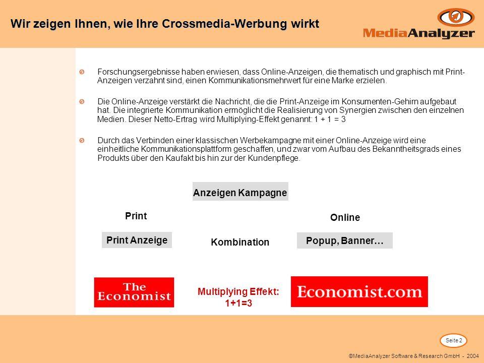 Seite 2 ©MediaAnalyzer Software & Research GmbH - 2004 Forschungsergebnisse haben erwiesen, dass Online-Anzeigen, die thematisch und graphisch mit Pri