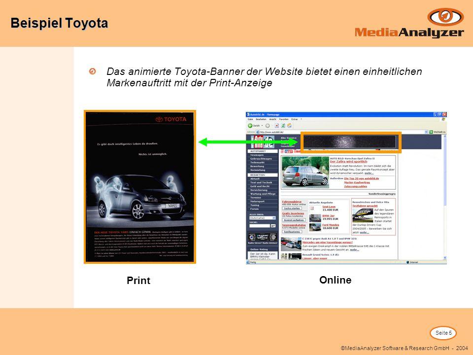 Seite 5 ©MediaAnalyzer Software & Research GmbH - 2004 Beispiel Toyota Print Online Das animierte Toyota-Banner der Website bietet einen einheitlichen