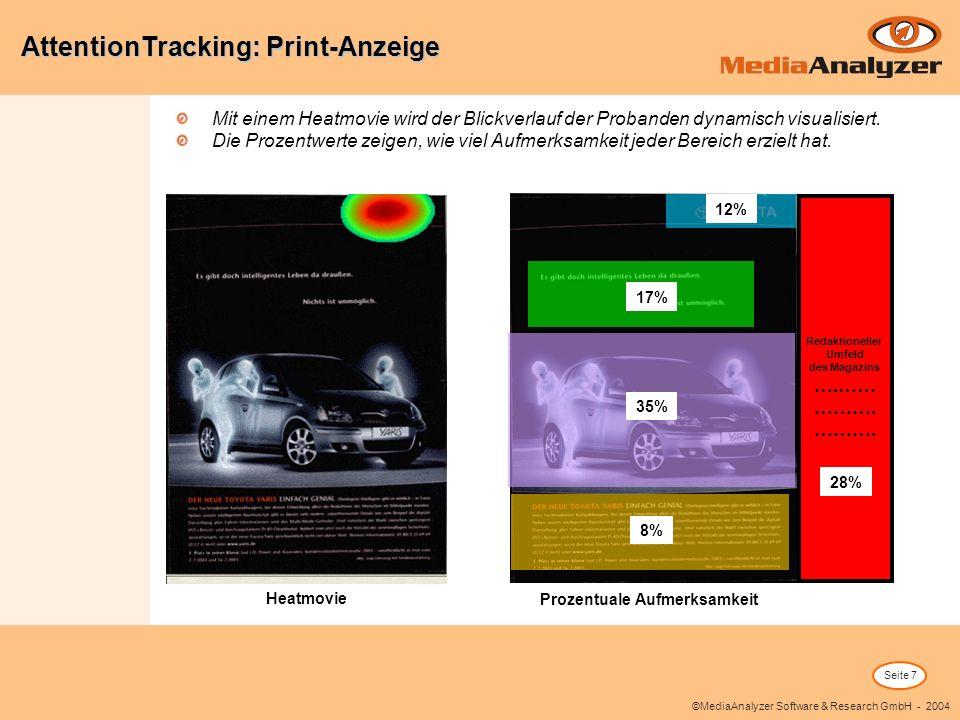 Seite 7 ©MediaAnalyzer Software & Research GmbH - 2004 Mit einem Heatmovie wird der Blickverlauf der Probanden dynamisch visualisiert. Die Prozentwert