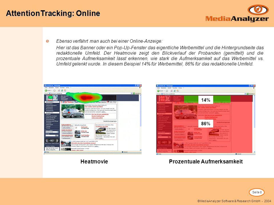 Seite 8 ©MediaAnalyzer Software & Research GmbH - 2004 Ebenso verfährt man auch bei einer Online-Anzeige: Hier ist das Banner oder ein Pop-Up-Fenster das eigentliche Werbemittel und die Hintergrundseite das redaktionelle Umfeld.