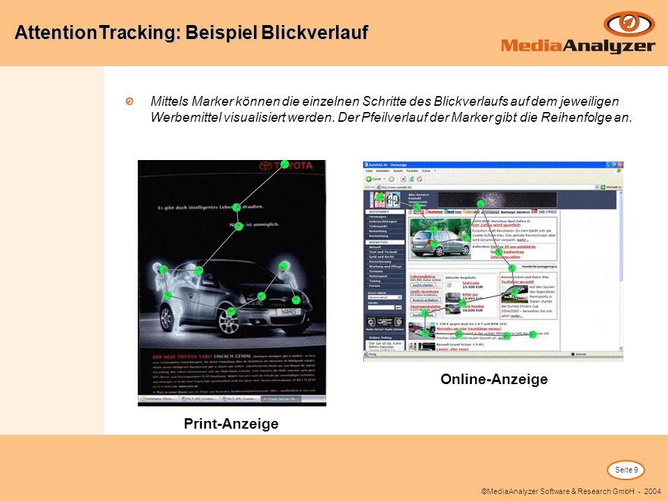 Seite 9 ©MediaAnalyzer Software & Research GmbH - 2004 Mittels Marker können die einzelnen Schritte des Blickverlaufs auf dem jeweiligen Werbemittel visualisiert werden.