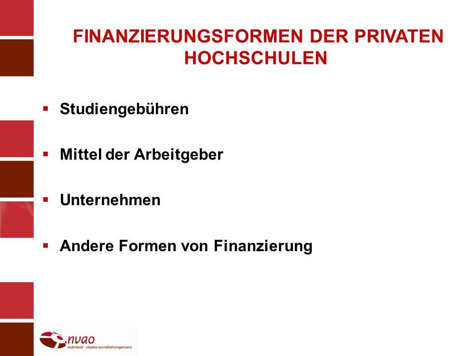 FINANZIERUNGSFORMEN DER PRIVATEN HOCHSCHULEN Studiengebühren Mittel der Arbeitgeber Unternehmen Andere Formen von Finanzierung