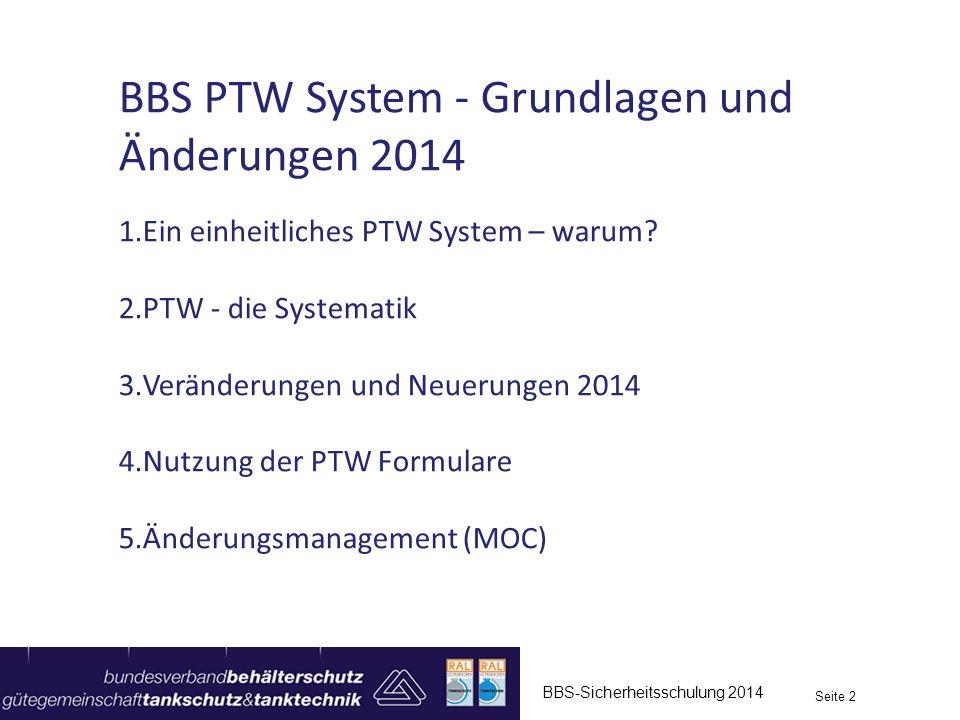 BBS-Sicherheitsschulung 2014 Seite 2 BBS PTW System - Grundlagen und Änderungen 2014 1.Ein einheitliches PTW System – warum? 2.PTW - die Systematik 3.