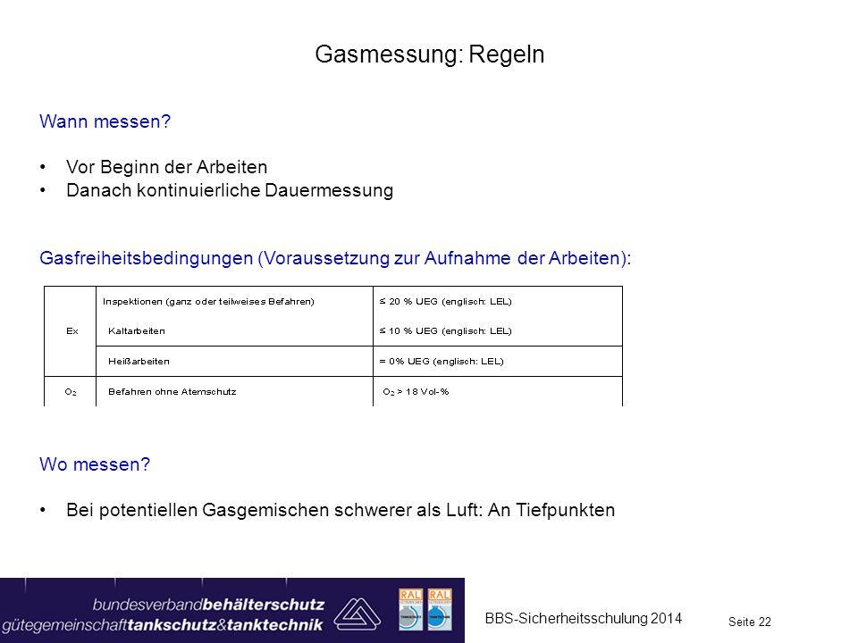 BBS-Sicherheitsschulung 2014 Seite 22 Gasmessung: Regeln Wann messen? Vor Beginn der Arbeiten Danach kontinuierliche Dauermessung Gasfreiheitsbedingun