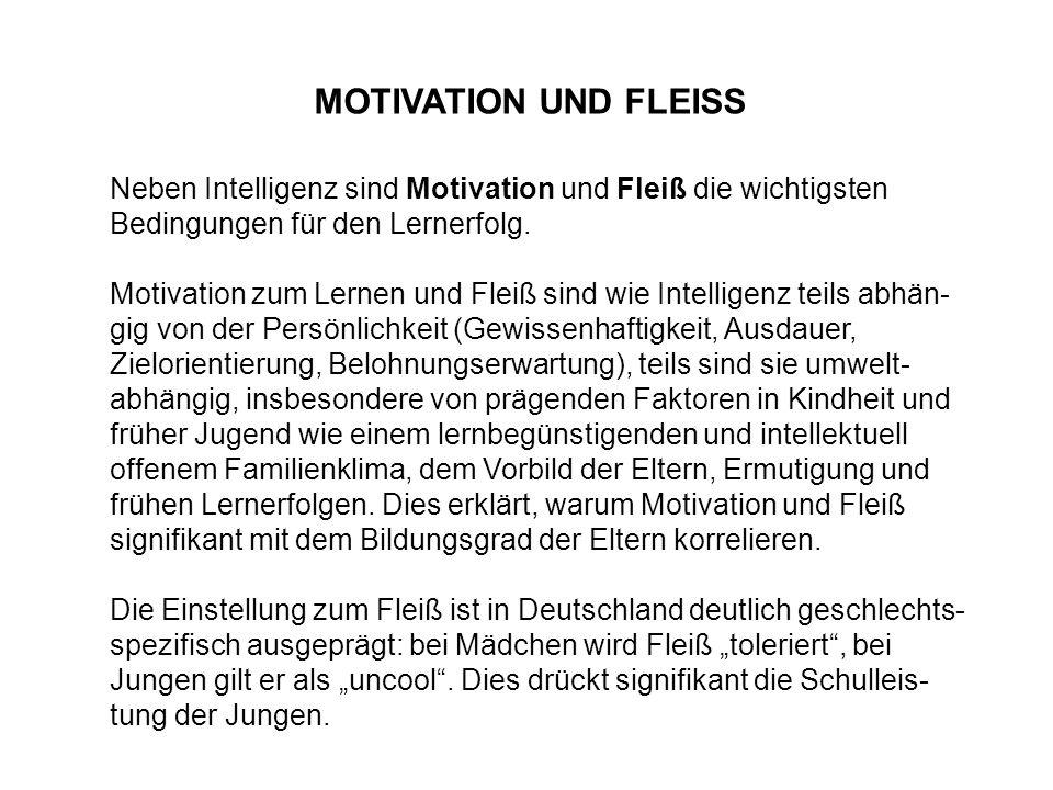 MOTIVATION UND FLEISS Neben Intelligenz sind Motivation und Fleiß die wichtigsten Bedingungen für den Lernerfolg. Motivation zum Lernen und Fleiß sind