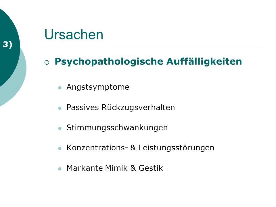 Ursachen Psychopathologische Auffälligkeiten Angstsymptome Passives Rückzugsverhalten Stimmungsschwankungen Konzentrations- & Leistungsstörungen Markante Mimik & Gestik 3)