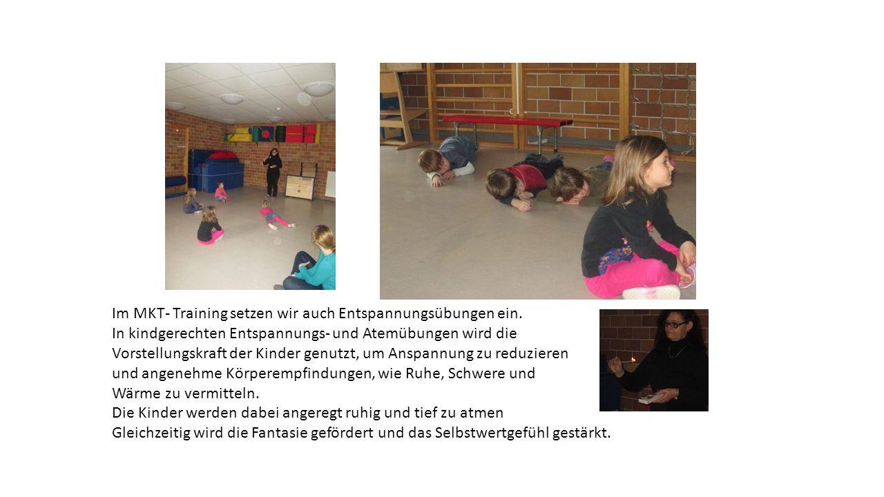 Im MKT- Training setzen wir auch Entspannungsübungen ein. In kindgerechten Entspannungs- und Atemübungen wird die Vorstellungskraft der Kinder genutzt