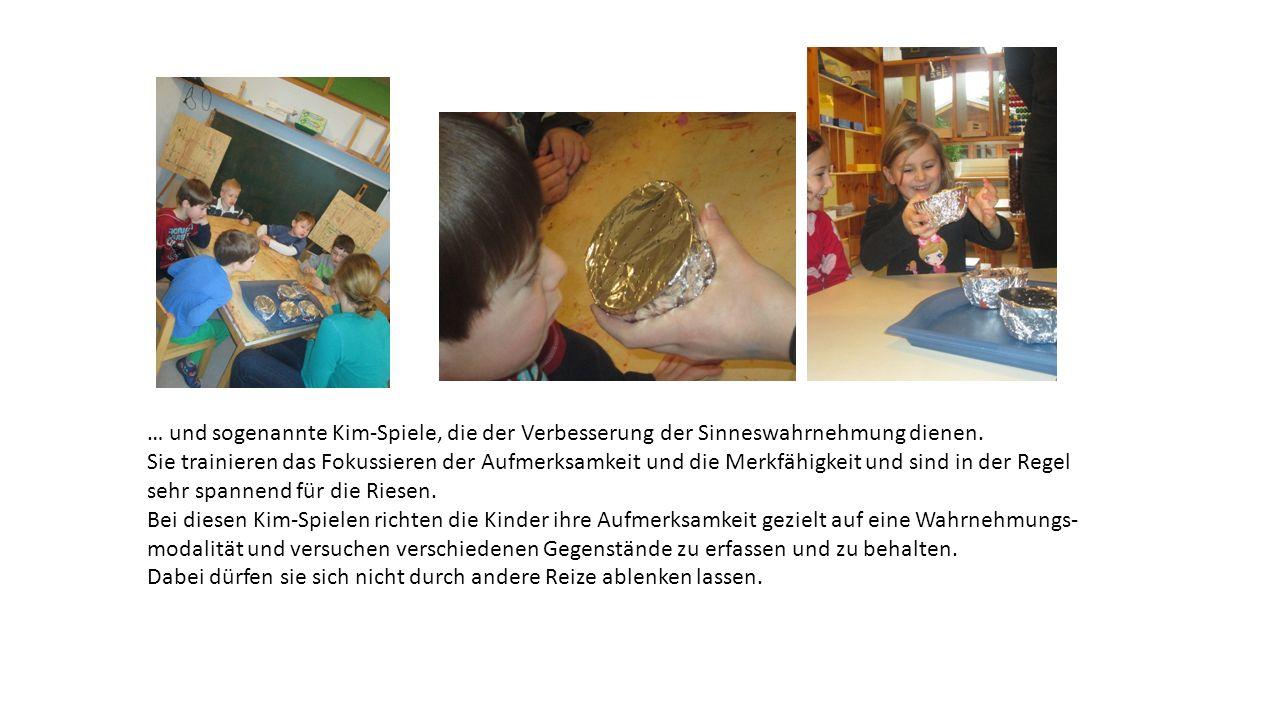 … und sogenannte Kim-Spiele, die der Verbesserung der Sinneswahrnehmung dienen. Sie trainieren das Fokussieren der Aufmerksamkeit und die Merkfähigkei
