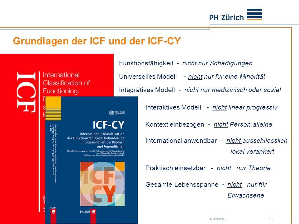 18.09.2013Kick-off SAV-ZH Workshop zu ICF und SAV 18 Grundlagen der ICF und der ICF-CY Funktionsfähigkeit - nicht nur Schädigungen Universelles Modell