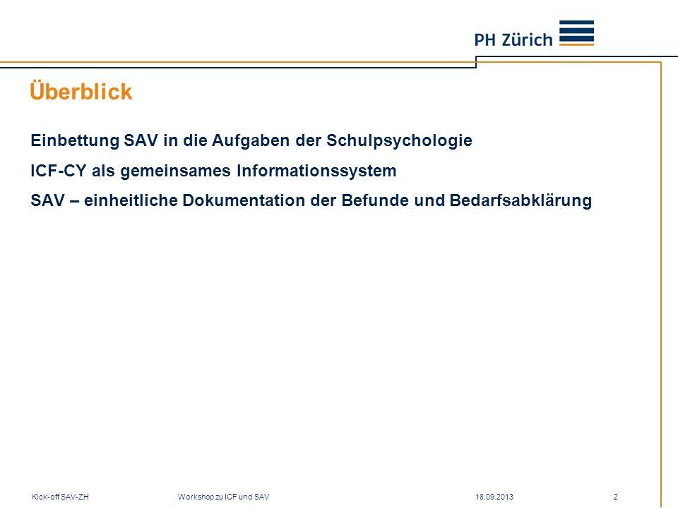 18.09.2013Kick-off SAV-ZH Workshop zu ICF und SAV 43 Bedarfsabklärung … Störung (ICD) Funktions- fähigkeit (ICF) Kompetenzen Curriculum Entwicklung Entwicklungsaufgaben Bedürfnisse?