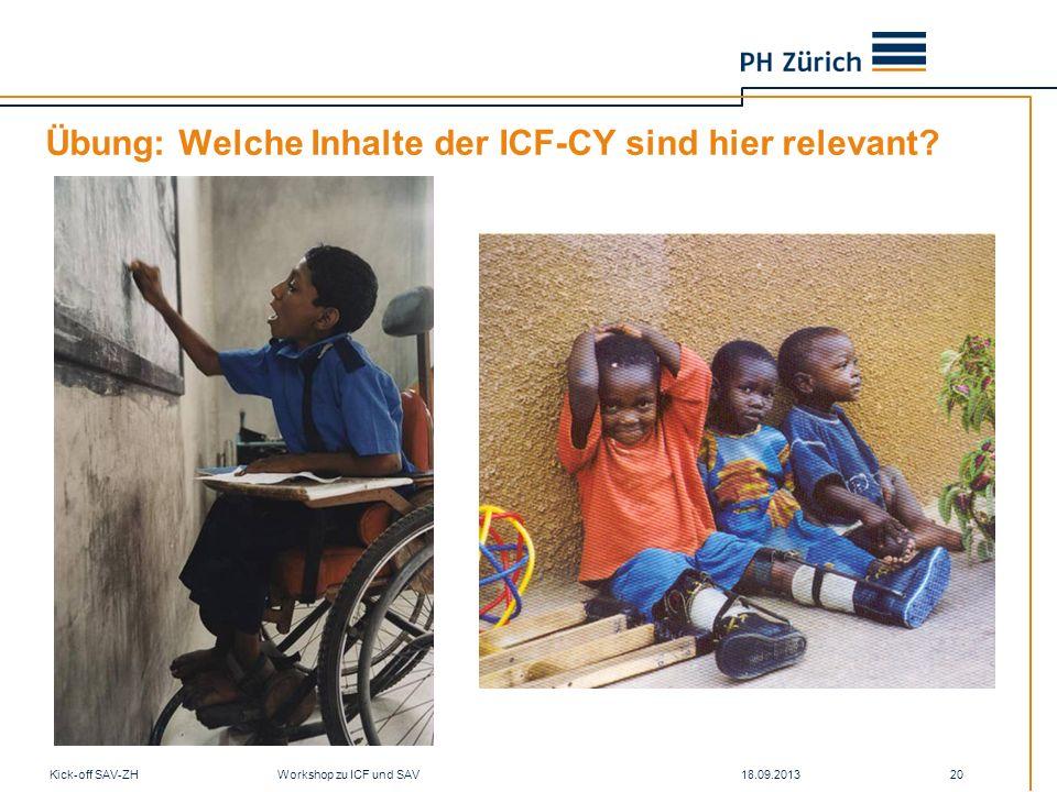 Übung: Welche Inhalte der ICF-CY sind hier relevant? 18.09.2013Kick-off SAV-ZH Workshop zu ICF und SAV 20