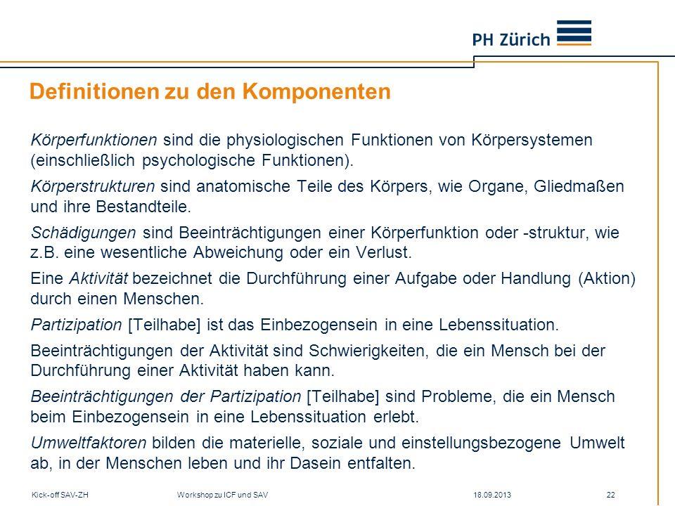 18.09.2013Kick-off SAV-ZH Workshop zu ICF und SAV 22 Definitionen zu den Komponenten Körperfunktionen sind die physiologischen Funktionen von Körpersy