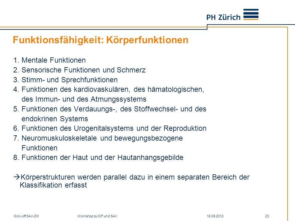 18.09.2013Kick-off SAV-ZH Workshop zu ICF und SAV 23 Funktionsfähigkeit: Körperfunktionen 1. Mentale Funktionen 2. Sensorische Funktionen und Schmerz