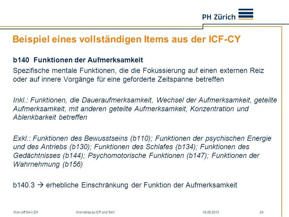 18.09.2013Kick-off SAV-ZH Workshop zu ICF und SAV 24 Beispiel eines vollständigen Items aus der ICF-CY b140 Funktionen der Aufmerksamkeit Spezifische