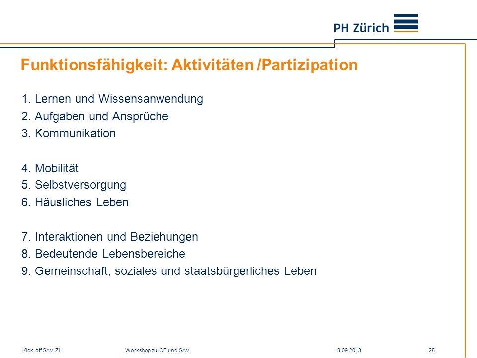 18.09.2013Kick-off SAV-ZH Workshop zu ICF und SAV 25 Funktionsfähigkeit: Aktivitäten /Partizipation 1. Lernen und Wissensanwendung 2. Aufgaben und Ans