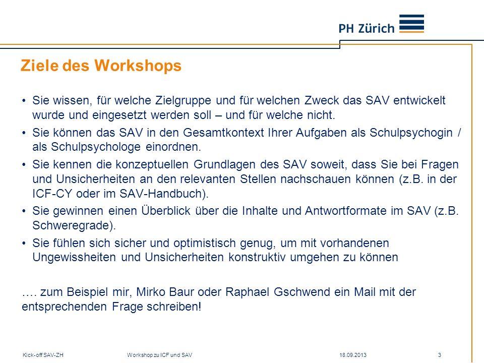 Wissen und Problemstellungen 18.09.2013Kick-off SAV-ZH Workshop zu ICF und SAV 34 Kognition Soziale Aktivitäten Mobilität Aufgaben und Anforderungen Bildung