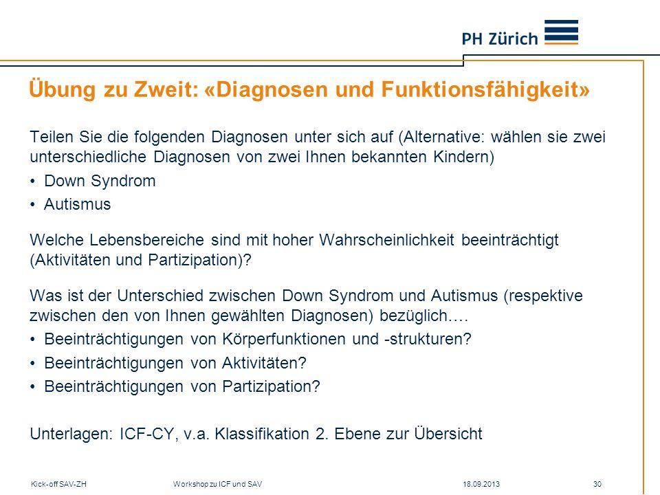 18.09.2013Kick-off SAV-ZH Workshop zu ICF und SAV 30 Übung zu Zweit: «Diagnosen und Funktionsfähigkeit» Teilen Sie die folgenden Diagnosen unter sich
