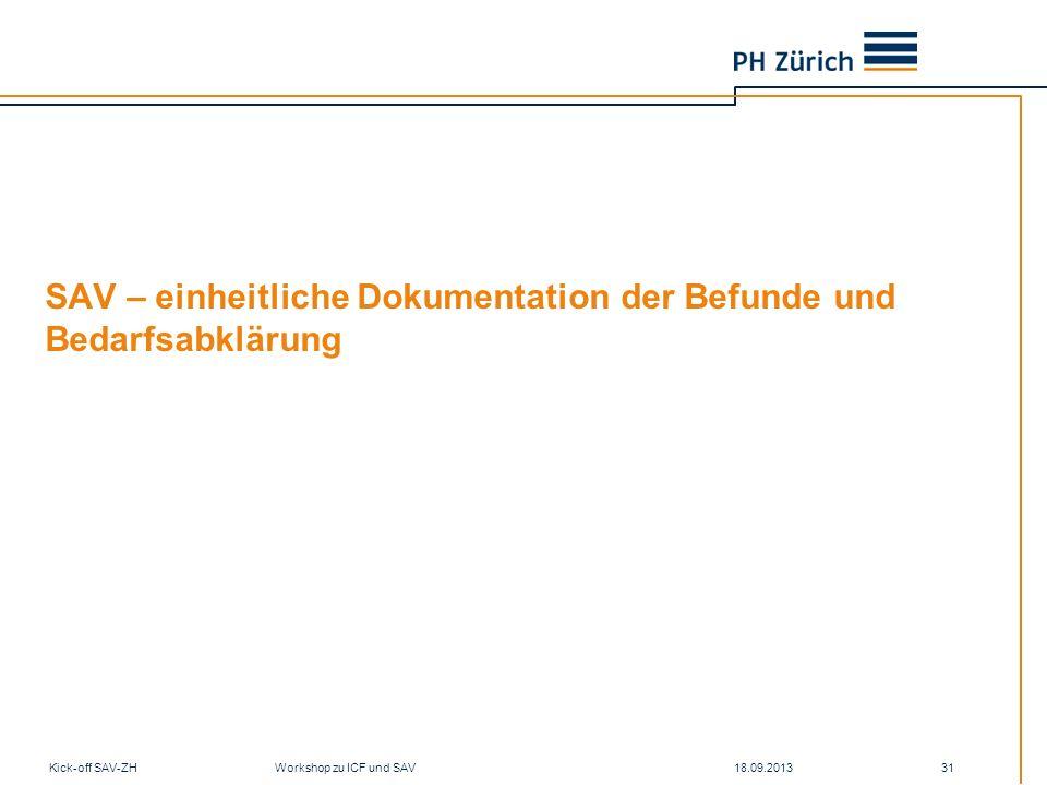 18.09.2013Kick-off SAV-ZH Workshop zu ICF und SAV 31 SAV – einheitliche Dokumentation der Befunde und Bedarfsabklärung