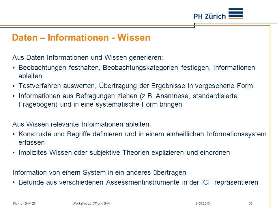 Daten – Informationen - Wissen Aus Daten Informationen und Wissen generieren: Beobachtungen festhalten, Beobachtungskategorien festlegen, Informatione