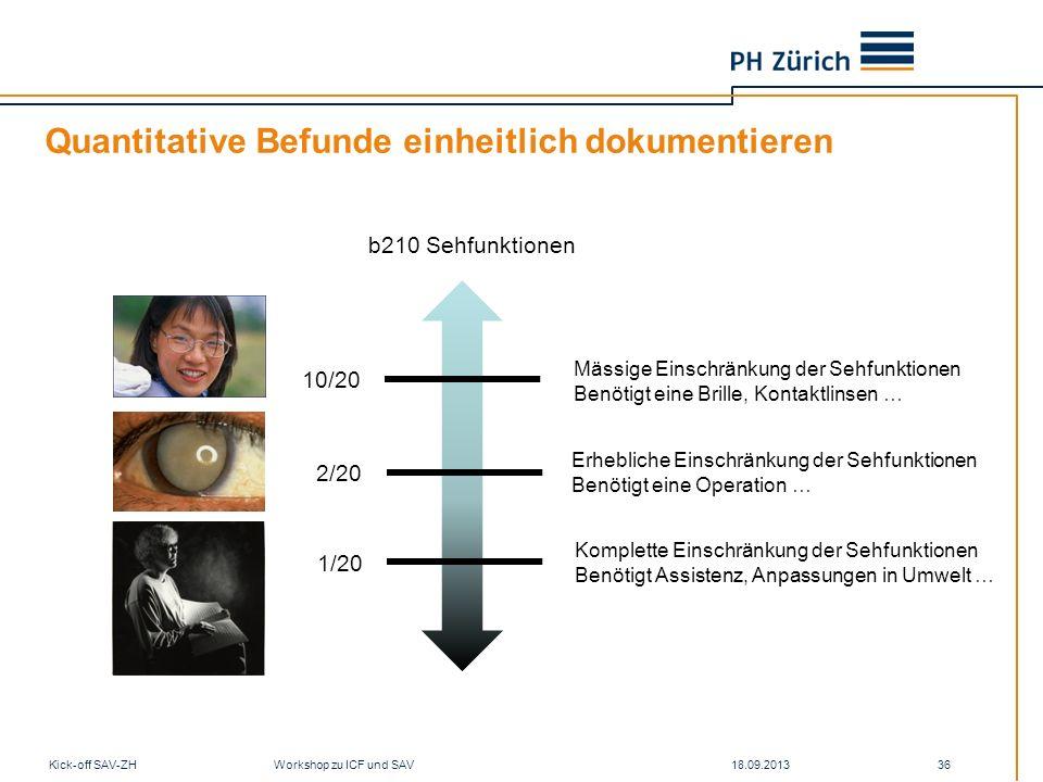 Quantitative Befunde einheitlich dokumentieren 18.09.2013Kick-off SAV-ZH Workshop zu ICF und SAV 36 b210 Sehfunktionen 10/20 2/20 1/20 Mässige Einschr