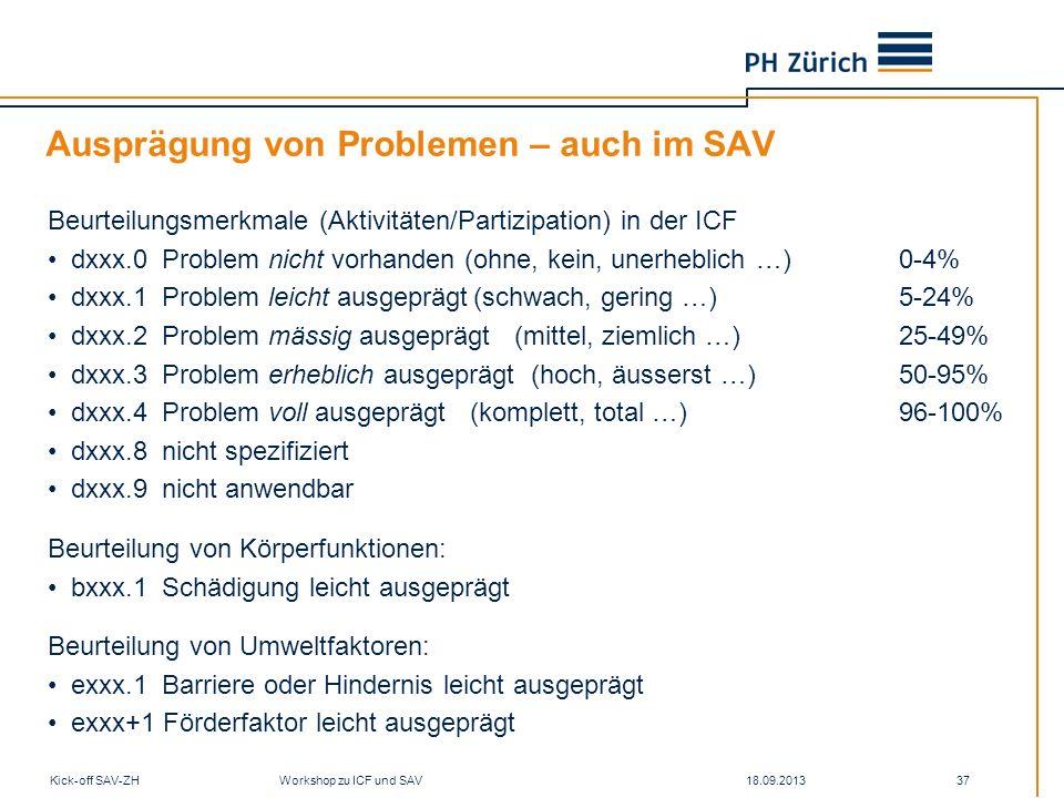 18.09.2013Kick-off SAV-ZH Workshop zu ICF und SAV 37 Ausprägung von Problemen – auch im SAV Beurteilungsmerkmale (Aktivitäten/Partizipation) in der IC