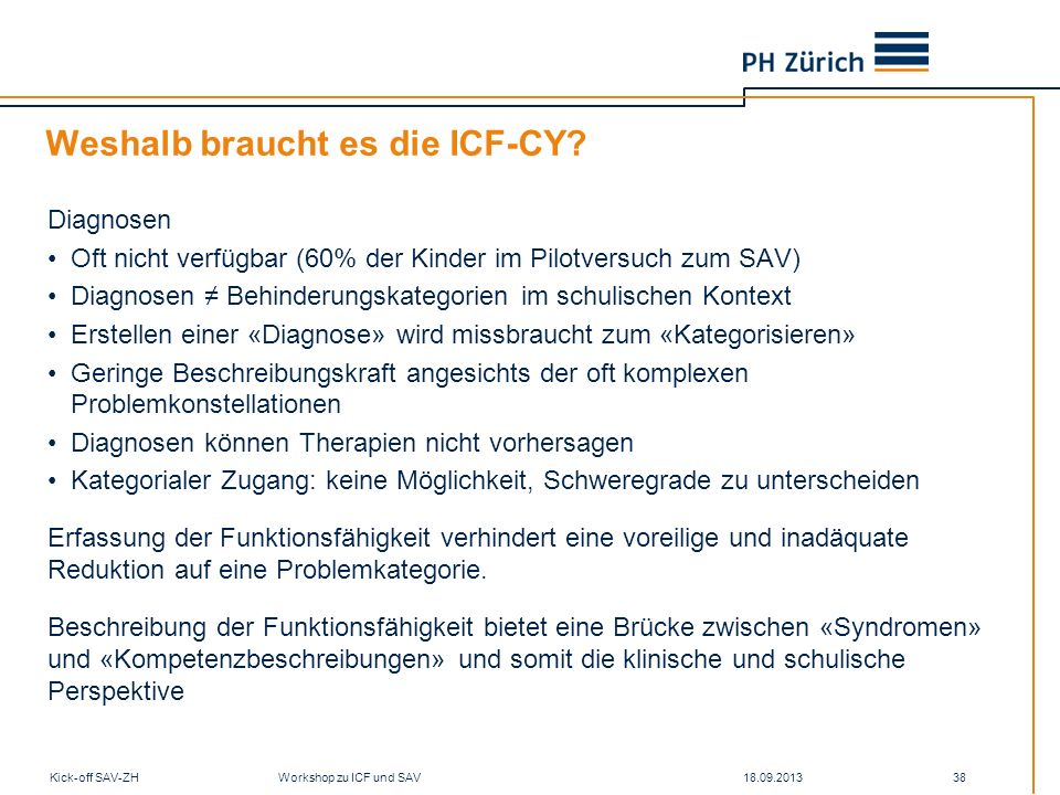18.09.2013Kick-off SAV-ZH Workshop zu ICF und SAV 38 Weshalb braucht es die ICF-CY? Diagnosen Oft nicht verfügbar (60% der Kinder im Pilotversuch zum