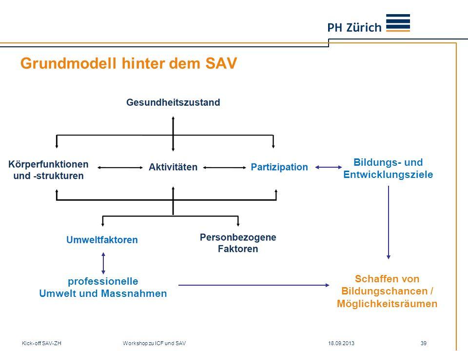 Grundmodell hinter dem SAV 18.09.2013Kick-off SAV-ZH Workshop zu ICF und SAV 39 professionelle Umwelt und Massnahmen Bildungs- und Entwicklungsziele S