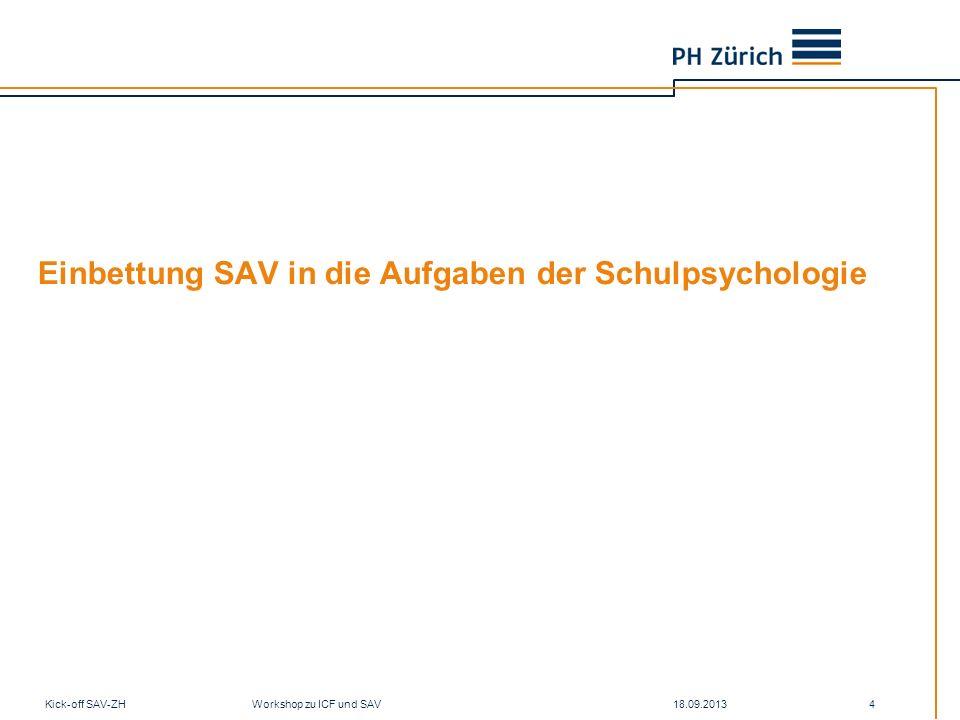 Einbettung SAV in die Aufgaben der Schulpsychologie 18.09.2013Kick-off SAV-ZH Workshop zu ICF und SAV 4