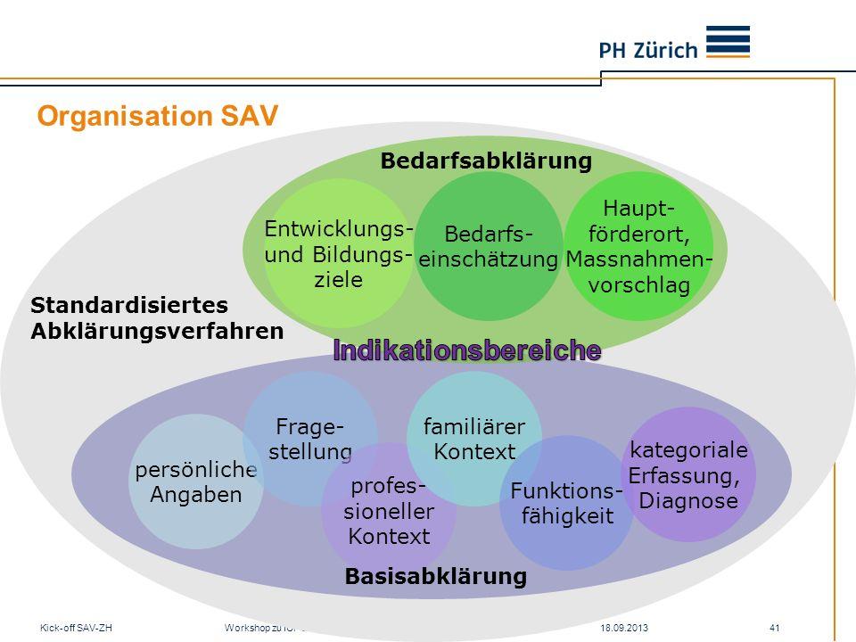 Organisation SAV 18.09.2013Kick-off SAV-ZH Workshop zu ICF und SAV 41 persönliche Angaben Frage- stellung profes- sioneller Kontext familiärer Kontext