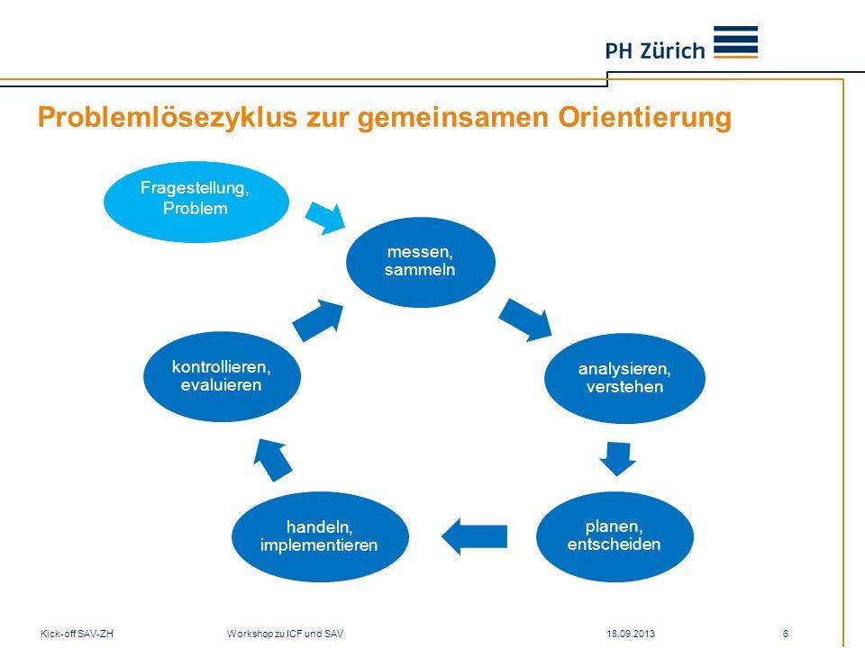 18.09.2013Kick-off SAV-ZH Workshop zu ICF und SAV 37 Ausprägung von Problemen – auch im SAV Beurteilungsmerkmale (Aktivitäten/Partizipation) in der ICF dxxx.0 Problem nicht vorhanden (ohne, kein, unerheblich …)0-4% dxxx.1 Problem leicht ausgeprägt(schwach, gering …)5-24% dxxx.2 Problem mässig ausgeprägt (mittel, ziemlich …)25-49% dxxx.3 Problem erheblich ausgeprägt (hoch, äusserst …)50-95% dxxx.4 Problem voll ausgeprägt (komplett, total …)96-100% dxxx.8 nicht spezifiziert dxxx.9 nicht anwendbar Beurteilung von Körperfunktionen: bxxx.1 Schädigung leicht ausgeprägt Beurteilung von Umweltfaktoren: exxx.1 Barriere oder Hindernis leicht ausgeprägt exxx+1 Förderfaktor leicht ausgeprägt