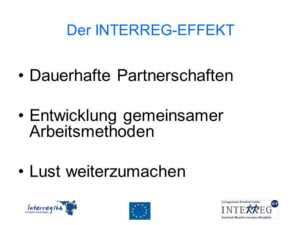 Der INTERREG-EFFEKT Dauerhafte Partnerschaften Entwicklung gemeinsamer Arbeitsmethoden Lust weiterzumachen