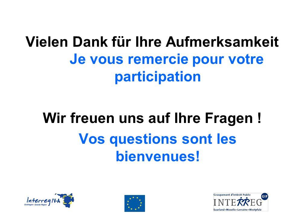 Vielen Dank für Ihre Aufmerksamkeit Je vous remercie pour votre participation Wir freuen uns auf Ihre Fragen .