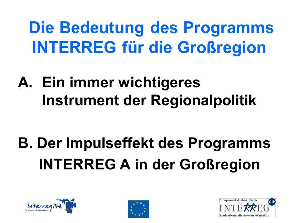 Die Bedeutung des Programms INTERREG für die Großregion A.Ein immer wichtigeres Instrument der Regionalpolitik B. Der Impulseffekt des Programms INTER