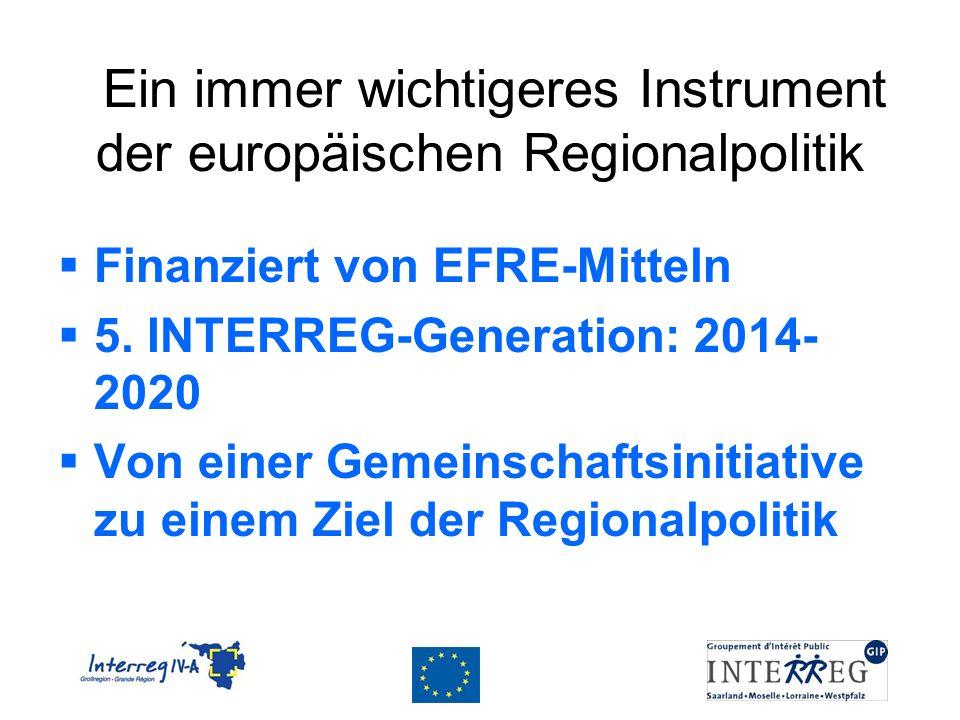 Ein immer wichtigeres Instrument der europäischen Regionalpolitik Finanziert von EFRE-Mitteln 5. INTERREG-Generation: 2014- 2020 Von einer Gemeinschaf