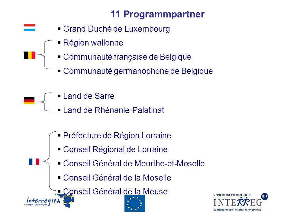 11 Programmpartner Grand Duché de Luxembourg Région wallonne Communauté française de Belgique Communauté germanophone de Belgique Land de Sarre Land d