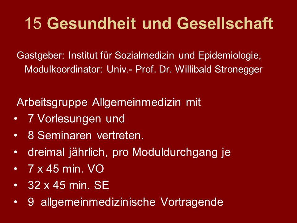 15 Gesundheit und Gesellschaft Gastgeber: Institut für Sozialmedizin und Epidemiologie, Modulkoordinator: Univ.- Prof. Dr. Willibald Stronegger Arbeit