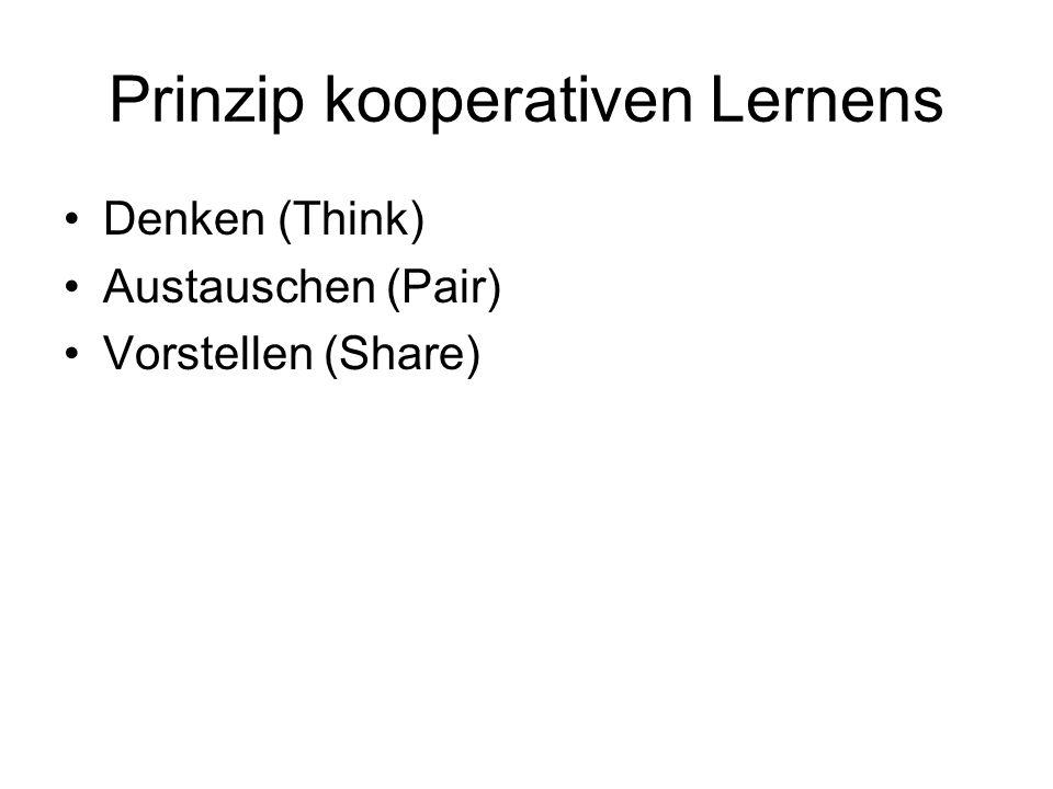 Prinzip kooperativen Lernens Denken (Think) Austauschen (Pair) Vorstellen (Share)