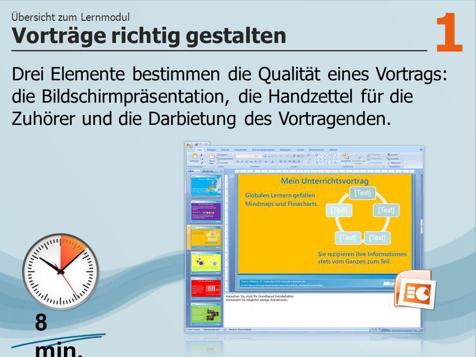 1 Drei Elemente bestimmen die Qualität eines Vortrags: die Bildschirmpräsentation, die Handzettel für die Zuhörer und die Darbietung des Vortragenden.