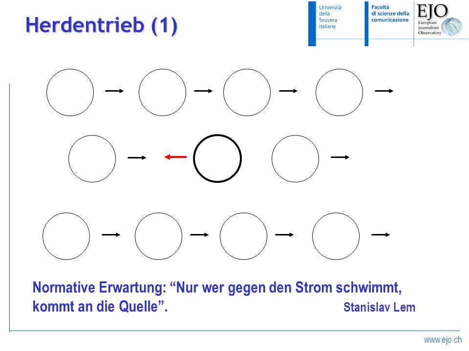 www.ejo.ch Herdentrieb (1) Normative Erwartung: Nur wer gegen den Strom schwimmt, kommt an die Quelle. Stanislav Lem