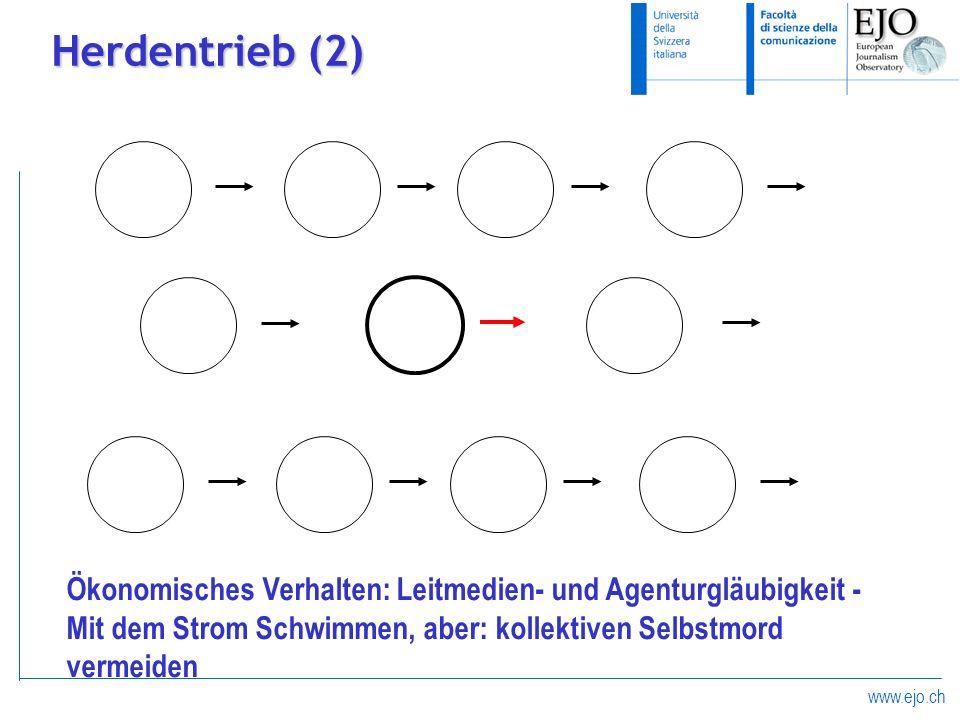 www.ejo.ch Herdentrieb (2) Ökonomisches Verhalten: Leitmedien- und Agenturgläubigkeit - Mit dem Strom Schwimmen, aber: kollektiven Selbstmord vermeide